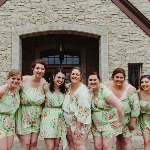 Soft Sage Mismatched Styles Bridesmaids Rompers in Dreamy Angel Song Pattern