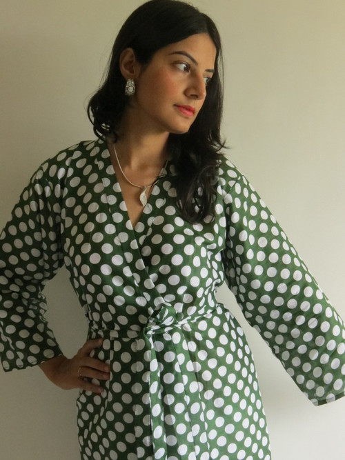 Dark Green Polka Dots Robes for bridesmaids | Getting Ready Bridal Robes