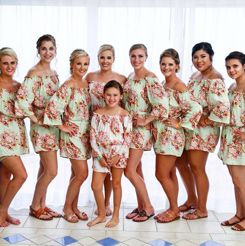 Mint Off the shoulder Style Bridesmaids Rompers in Floral Posy Pattern