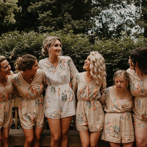 Champagne Kimono Style Bridesmaids Rompers in Dreamy Angel Song Pattern
