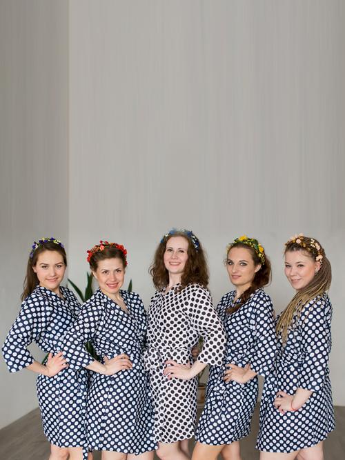 Navy Blue Polka Dots Robes for bridesmaids | Getting Ready Bridal Robes
