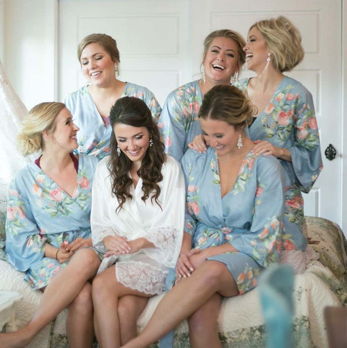 Dusty Blue Dreamy Angel Song Bridesmaids Robes Set