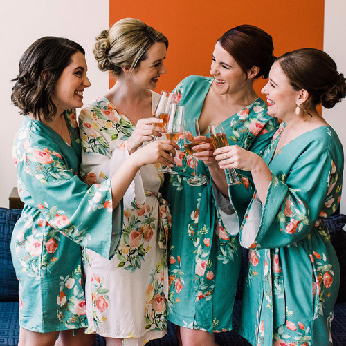 Dusty Teal Dreamy Angel Song Bridesmaids Robes Set