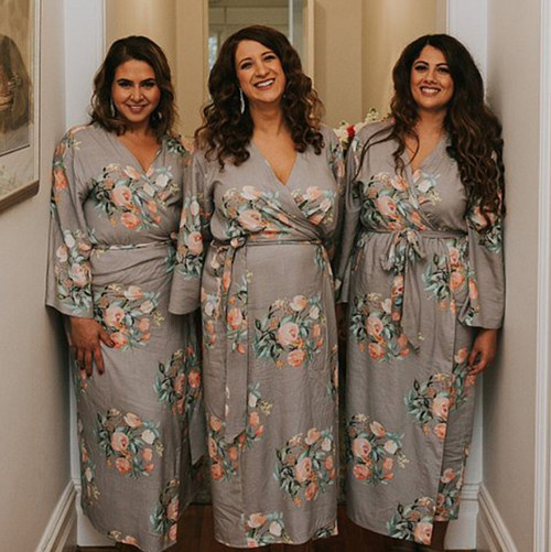 Gray Dreamy Angel Song Set of Bridesmaids Robes