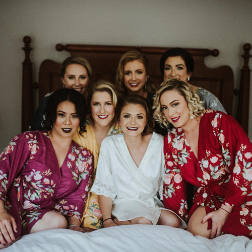 Jewel Toned Wedding Color Palette - Plum, Blueberry Blue, Mustard and Cranberry Bridesmaids Robes Set