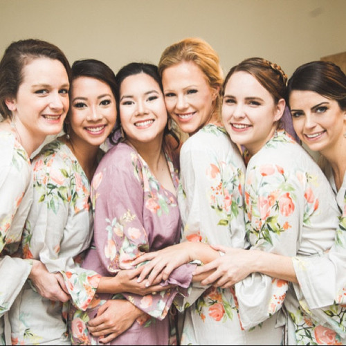 Mismatched Bridesmaids Robes Set- Dusty Mauve and Silver Dreamy Angel Song Robes