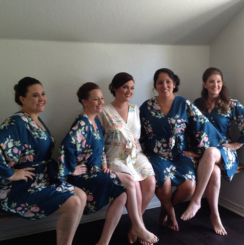 Navy Blue Dreamy Angel Song Bridesmaids Robes Set