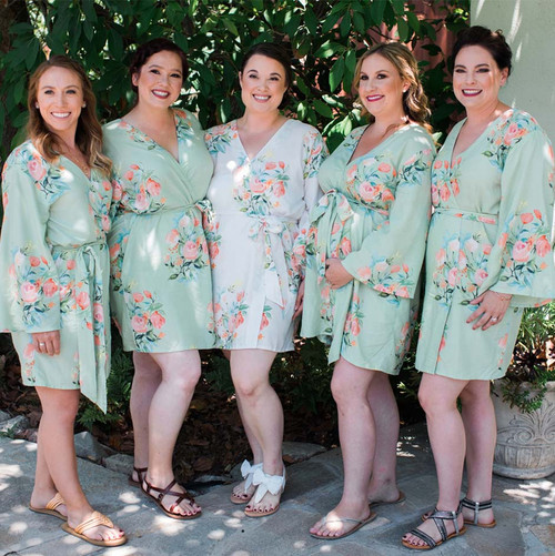Soft Mint Dreamy Angel Song Set of Bridesmaids Robes