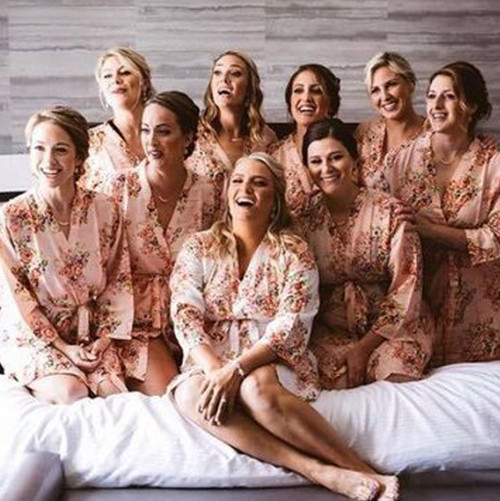 Blush Floral Posy Set of Bridesmaids Robes
