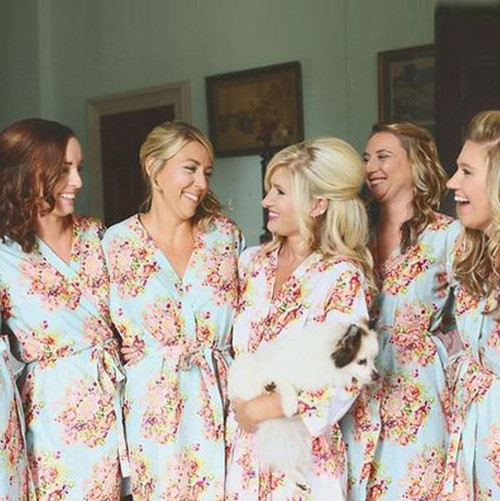 Light Blue Floral Posy Set of Bridesmaids Robes