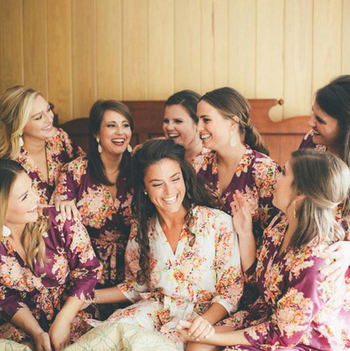 Deep Burgundy Floral Posy Bridesmaids Robes Set