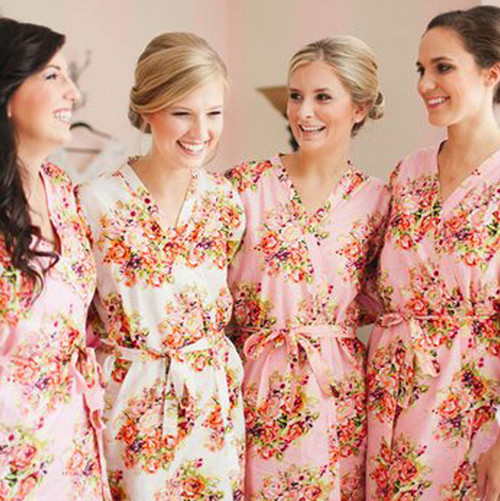 Pink Floral Posy Bridesmaids Robes Set