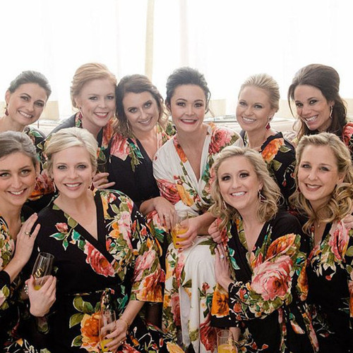 Black Large Floral Blossom Bridesmaids Robes Set