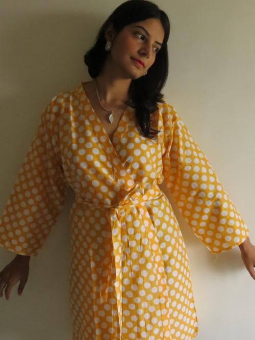 Yellow Polka Dots Robes for bridesmaids | Getting Ready Bridal Robes