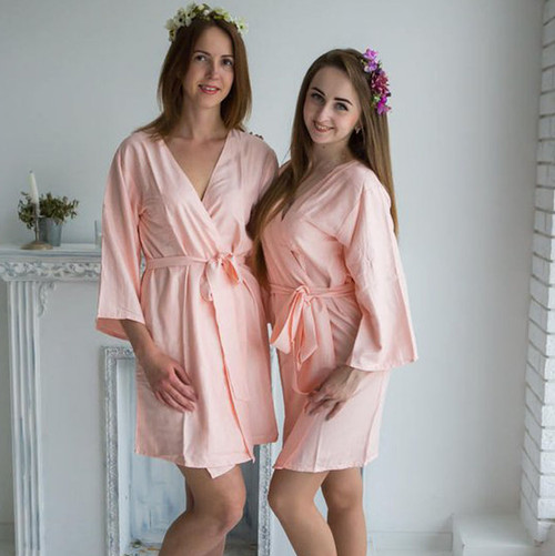 Blush Solid Set  of 2 Bridesmaids Robes