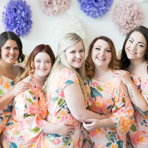 Blush Watercolor Floral Mismatched Styles in Her Petal Garden Bridesmaids Rompers