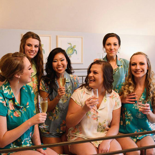 Shades of Blue and Green Notched Collar Style PJs in Dreamy Angel Song Pattern