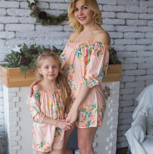 Set of 2 Baby Mommy Matching Off Shoulder Rompers - Blush Dreamy Angel Song Pattern