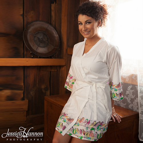 White colored sparrow themed kimono crossover robe