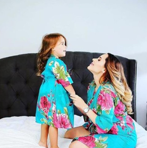 Set of 2 Baby Mommy Matching Robes - Teal Fuchsia Large Floral Blossom Pattern