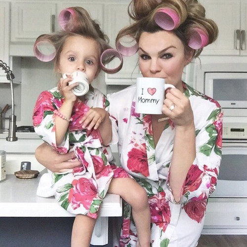 Set of 2 Baby Mommy Matching Robes - White Fuchsia Large Floral Blossom Pattern