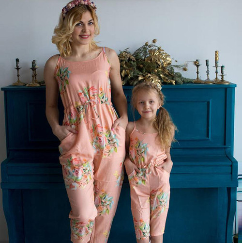 Set of 2 Baby Mommy Matching Off Shoulder Jumpsuits - Peach Dreamy Angel Song Pattern