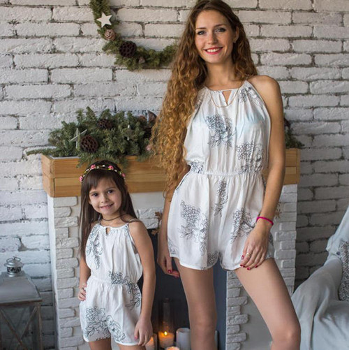 Set of 2 Baby Mommy Matching Halter Jumpsuits - White Floral Sketch Pattern