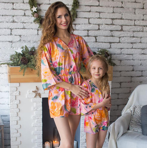 Set of 2 Baby Mommy Matching Kimono Style Rompers - Pinky Lilac Her Petal Garden Pattern