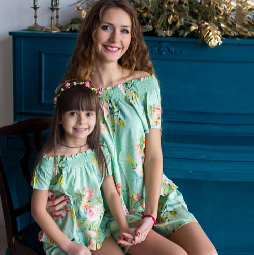 Set of 2 Baby Mommy Matching Pj Sets - Soft Mint Dreamy Angel Song Pattern