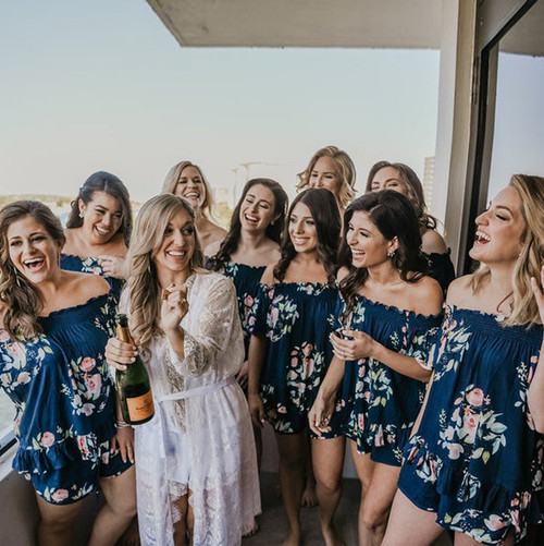 Navy Blue Off the Shoulder Style Dreamy Angel Song Bridesmaids PJ Set