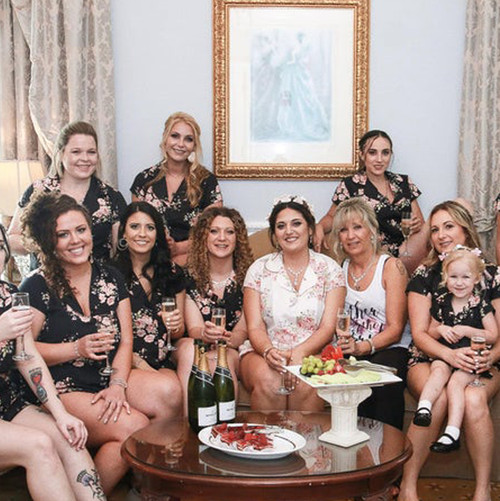 Black Faded Flower Bridesmaids PJ Set