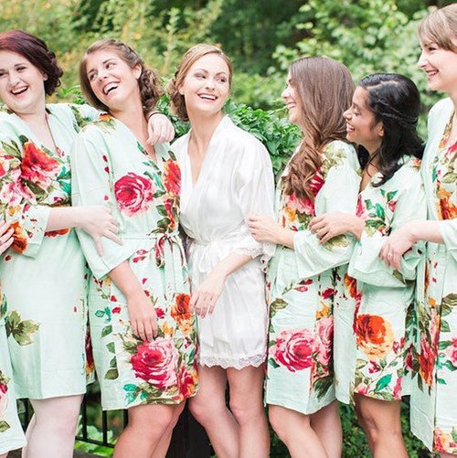 Mint Large Floral Blossom Bridesmaids Robes Set