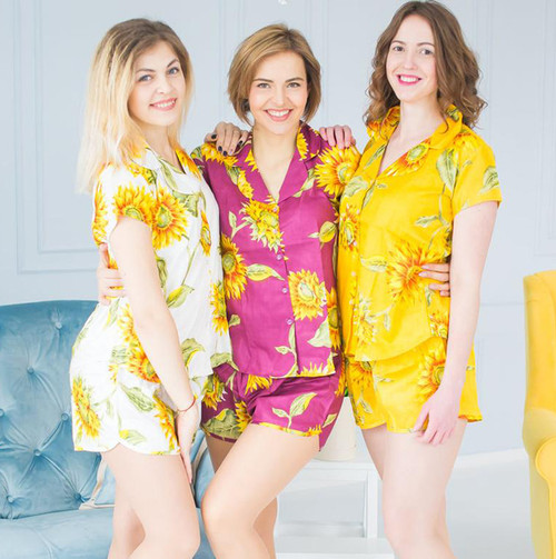 Mismatched Sunflower Pjs - White, Yellow and Aubergine Shade