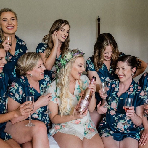 Dark Teal Dreamy Angel Song Bridesmaids PJ Sets