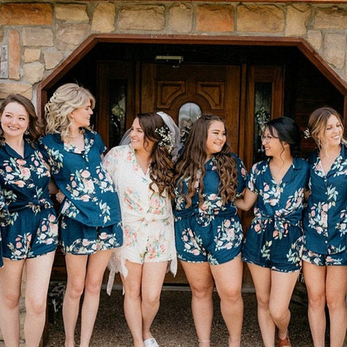 Dark Teal in Dreamy Angel Song Bridesmaids PJ Sets