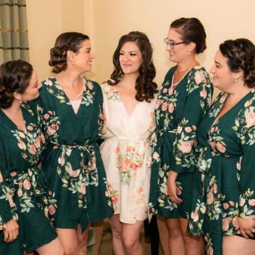 Dark Teal Dreamy Angel Song Set of Bridesmaids Robes