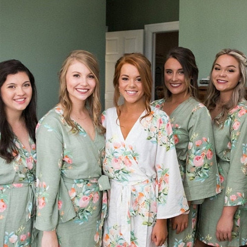 Grayed Jade in Dreamy Angel Song Bridesmaids Robes Set