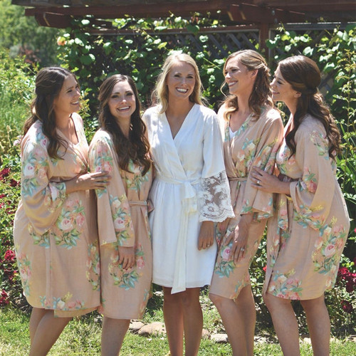 Rosegold Dreamy Angel Song  Set of Bridesmaids Robes
