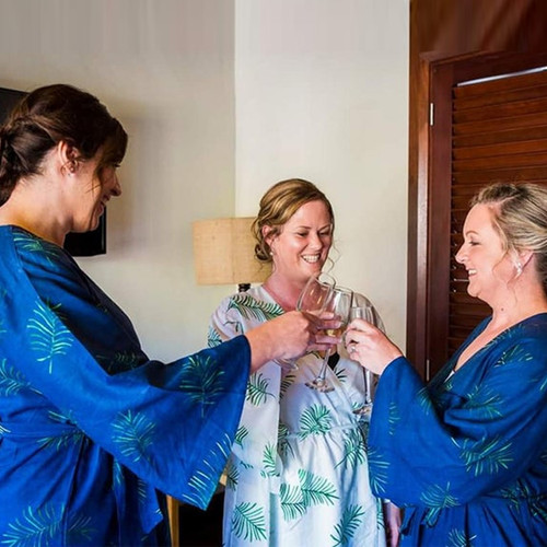 Navy Blue Tropical Delight Palm Leaves Bridesmaids Robes Sets