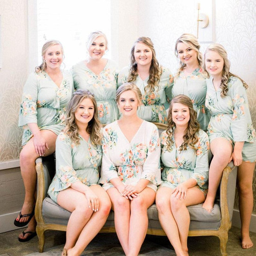 Soft mint Kimono Style Dreamy Angel Song Bridesmaids Rompers Set