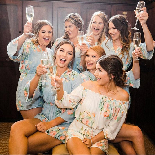 Light Blue Mismatched Style  Dreamy Angel Song Bridesmaids Rompers Set