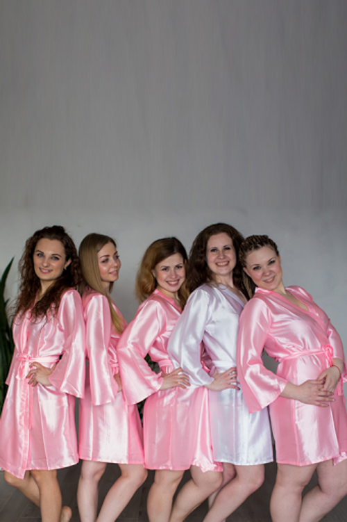 Plain Silk Robes for bridesmaids in Solid Pink Color