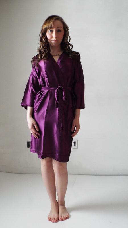 Eggplant Solid Colored Plain Silk Robes for bridesmaids