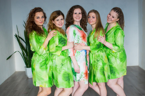 Green Watercolor Splash Robes for bridesmaids | Getting Ready Bridal Robes