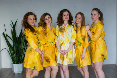Yellow Watercolor Splash Robes for bridesmaids | Getting Ready Bridal Robes