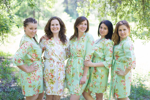 Mint Flower Rain Robes for bridesmaids