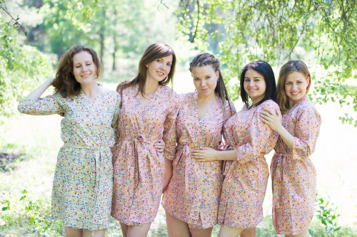 Pink Petit Floral Robes for bridesmaids