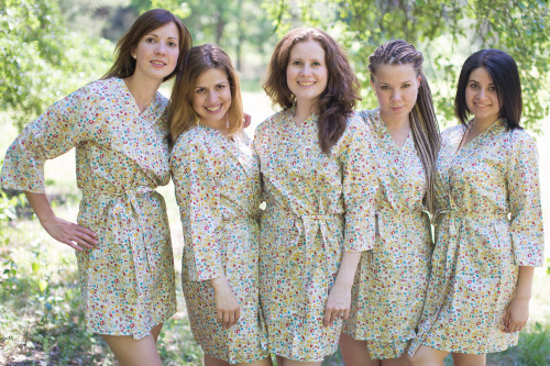 White Petit Floral Robes for bridesmaids