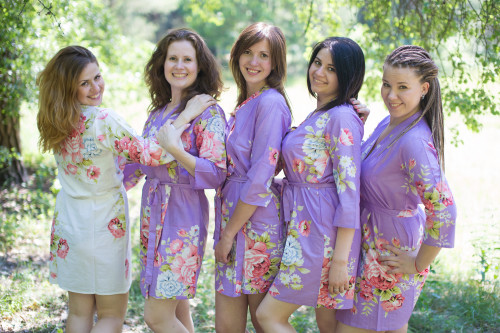 Lilac Cabbage Roses Robes for bridesmaids