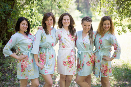 Light Blue Cabbage Roses Robes for bridesmaids